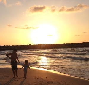 Summer 2014. Zak & Stella on the beach in Israel